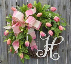SPRING Wreath Spring Tulip Wreath with Monogram by HornsHandmade