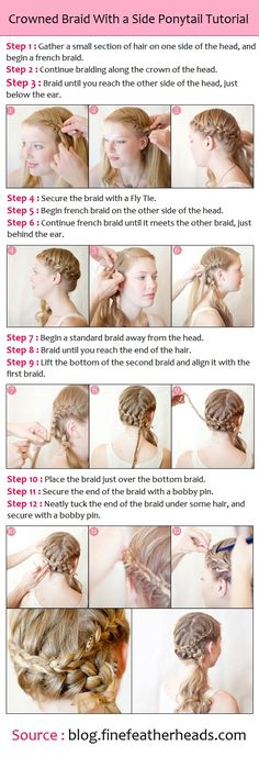 Crowned Braid With a Side Ponytail Tutorial | PinTutorials