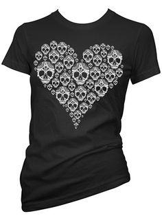 """Women's """"Skully Heart"""" Tee by Inked X Cartel Ink (Black)"""