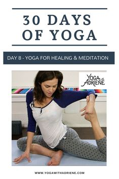 Join Adriene on Day 8 of The 30 Days of Yoga journey! Yoga For Healing & Meditation! Whether you plan to mediate after practice or whether the practice IS yo. Yoga Poses For Sleep, Partner Yoga Poses, Easy Yoga Poses, Yoga Poses For Beginners, Yoga For Mental Health, Yoga For Flat Belly, Beautiful Yoga Poses, Free Yoga Videos, Yoga Studio Decor