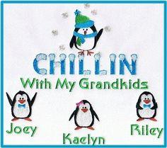 Chillin with my grandkids grandma sweatshirt-penguins Embroidered Sweatshirts, Cute Designs, Grandkids, Penguins, Machine Embroidery, My Favorite Things, Gift Ideas, Spaces, Holidays