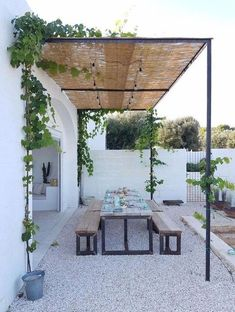 simple shade for the garden gravel patio with picnic style dining. simple shade for the garden gravel patio with picnic style dining. simple shade for the garden Painted Cement Patio and Outdoor Space Pergola Metal, Pergola Shade, Pergola Patio, Pergola Plans, Backyard Patio, Backyard Landscaping, Pergola Kits, Patio Shade, Pergola Ideas