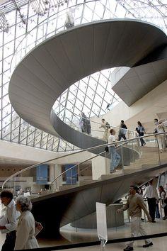 Le Louvre. Staircase. I.M. Pei, Paris, France.