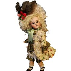 """Silk Dress, Jacket and Bonnet Fits 19"""" French Bebe Jumeau Steiner Doll #antiquedollplace"""