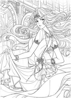Detailed Coloring Pages, Free Adult Coloring Pages, Cute Coloring Pages, Coloring Pages To Print, Coloring Books, Fantasy Princess, Devian Art, Lowbrow Art, Black And White Drawing