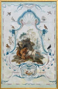 Carton de tapisserie, Le lion malade. Peinture sur toile de Jean-Baptiste Oudry, XVIIIème siècle. © Isabelle Bideau.