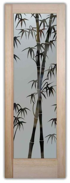 Etched Glass Doors Bamboo Asian Interior Glass Door Frosted