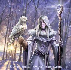 Winter Owl by Anne Stokes Fantasy Girl, Foto Fantasy, Gothic Fantasy Art, Beautiful Fantasy Art, Fantasy Kunst, High Fantasy, Fantasy Women, Anime Fantasy, Fantasy Artwork