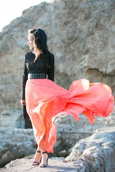 Black beaded top and coral maxi pleated skirt Maxis, Coral Maxi Skirts, Pleated Maxi, Coral Skirt, Peach Skirt, Pleated Dresses, Flowing Dresses, Windy Skirts, Wendy's Lookbook