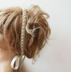 Bridal Pearl Headband, Lace İvory Pearl Head Piece,   Wedding Bridal Hair Accessory, Vintage Style, wedding Hair  accessory
