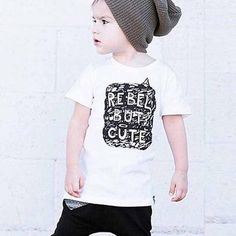 Breathable cotton material and funny words print add charm to this breezy tee for little boys.