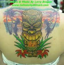 Tiki Tattoo 27 Love Tattoos, Picture Tattoos, Body Art Tattoos, Tattoos For Guys, Awesome Tattoos, Tattoo Ink, Tatoos, Tropical Tattoo, Hawaiian Tattoo