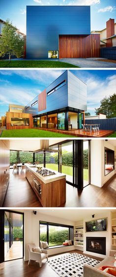 The Northcote Residence by Modscape in Melbourne, Australia is a modern prefabricated home with a stunning look. Alucobond Cladding, Home Bar Essentials, Modern Modular Homes, Home Library Rooms, Diy Home Interior, Passive Design, Internal Design, Internal Courtyard, Prefabricated Houses