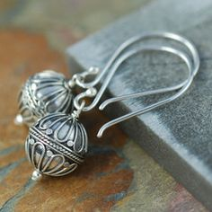 """Hot Air Balloon"" Bali sterling silver earrings"