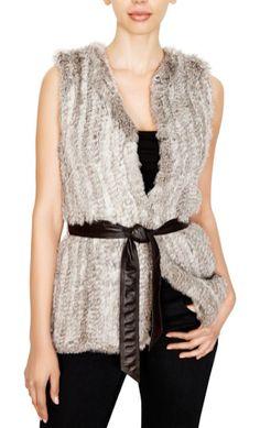 Ecru Knitted Fur Vest $388