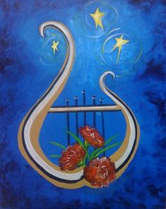 Lyre and Carnation Painting - Alpha Chi Omega