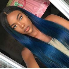 Dark Blue Glueless Lace Front Wigs With Baby Hair Full Lace Wigs Pre Plucked,Human Hair Lace Wigs Wigs With Bangs, Hairstyles With Bangs, Weave Hairstyles, Straight Hairstyles, Woman Hairstyles, Remy Hair Wigs, Human Hair Lace Wigs, 100 Human Hair, Cornrows