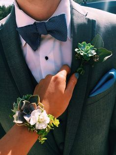 Prom succulent corsage and boutonniere