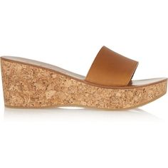 K Jacques St Tropez Kyrielle leather and cork wedge sandals ($335) ❤ liked on Polyvore featuring shoes, sandals, brown, wide shoes, wide slip on shoes, brown cork wedge sandals, leather slip on shoes and k jacques sandals