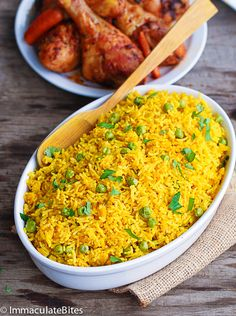 South African Yellow Rice- Quick, easy fragrant rice spiced with turmeric, ginger, and a taste bud sensation. FULL RECIPE HERE Yellow Rice . South African Dishes, South African Recipes, Indian Food Recipes, Vegetarian Recipes, Cooking Recipes, Ethnic Recipes, South Indian Foods, Cooking Rice, Indian Snacks