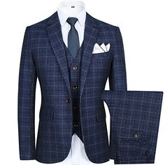 b50430bdf589 Men's Slim Plaid Modern Fit One Button 3-Piece Suit Blazer Dress Suit  Jacket Tux