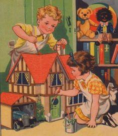 Vintage - children painting a dollhouse - vintage car, stuffed animals, golliwog