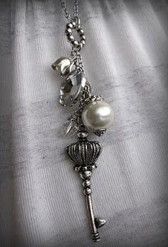 #long necklace #key charm #jewelry