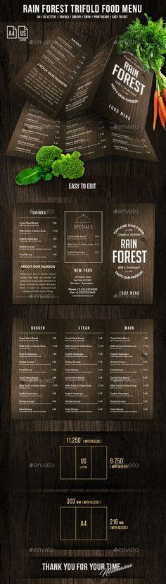 Rain Forest A4 & US Letter Trifold Menu