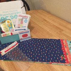 @fatquartershop  This is the BEST #sewsampler box yet!! I am in love with this fabric from @cluckclucksew  and will definitely be using it to make the darling Moonshine Table Runner!  And I seriously was eyeing this Pie Ruler the other day! And all the other goodies...very happy mail indeed!!