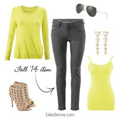 #CAbi - Our lemon lime Split Back Pullover is the pop of color your closet needs! Get ideas on how to wear it.