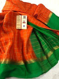 South Silk Sarees, Mysore Silk Saree, Sarara Dress, Checks Saree, Saree Blouse Neck Designs, Elegant Saree, Indian Fashion, Women's Fashion, Beautiful Saree