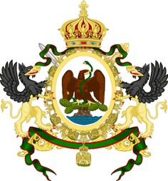 File:Coat of Arms of the Second Mexican Empire. Maximilian I, Mexican Flags, History Activities, Flag Art, Cowboy Art, Family Crest, German Army, Crests, Chicano
