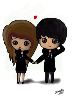 Cute Kawaii Adorable Chibi Emo Scene Couple - love, in love, amo, digital art, Antonette, silos, drawing
