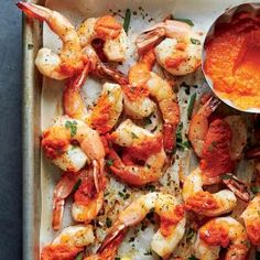 Recipe: Roasted Gulf Shrimp with Romesco Sauce This recipe requires almost no effort for maximum reward. Just 10 minutes in the oven plus our special sauce equals Shrimp Dishes, Shrimp Recipes, Sauce Recipes, Fish Recipes, Cooking Recipes, Healthy Recipes, Recipies, Healthy Treats, Healthy Food