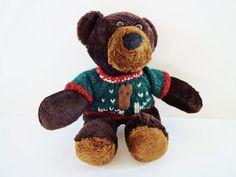 Vintage Christmas Teddy Bear Stuffed Animal with by LeVieuxSalon