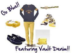 #CollegeFootball, #CollegeGameday Vault Denim, Emerson Edwards, Game Day, #GameDayOutfit, #Football, Gear, #Michigan, #UniversityofMichigan, #GoBlue, #Wolverines, Yellow Jeans