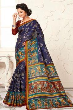 Navy blue madhubani printed khadi semi silk saree