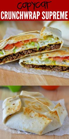 Crunchwrap Supreme (Copycat) Crunchwrap Supremes are loaded with seasoned ground beef, nacho cheese, sour cream, lettuce and tomato all wrapped inside a large flour tortilla. There is a corn tortilla hidden inside that gives it that crunch we all love! Healthy Dinner Recipes, Mexican Food Recipes, Cooking Recipes, Healthy Meals, Cooking Fish, Cooking Steak, Fast Recipes, Entree Recipes, Rice Recipes