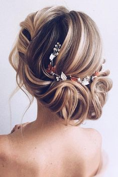 30 Wedding Hairstyles Ideas For Brides With Thin Hair wedding hairstyles for thin hair elegant wavy airy updo with white yellow leaves olesya_zemskova Best Wedding Hairstyles, Loose Hairstyles, Bridal Hairstyles, Medium Length Updo, Thin Hair Updo, Medium Hair Styles, Long Hair Styles, Hair Medium, Hair Extensions Best