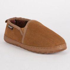 MUK LUKS Men's Double Gore Printed Berber Suede Slip-on Slippers in Tan, Size: 10 - 0017508110-10