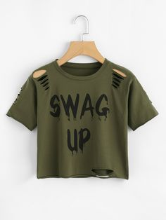 Slogan Print Ripped Crop TeeFor Women-romwe The clothing culture is very old. Crop Tops For Kids, Teen Crop Tops, Cute Crop Tops, Teen Fashion Outfits, Teenage Outfits, Outfits For Teens, Girl Outfits, Cute Lazy Outfits, Crop Top Outfits