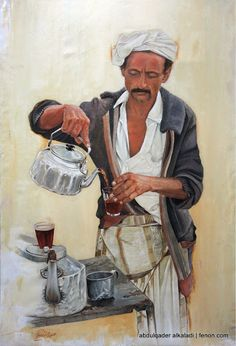 Abdul-Qader Al-Kaladi. Sweet milky cha or strong black thick syrupy coffee flavoured with cardamom?