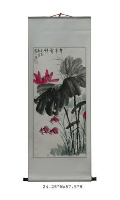 Chinese Lotus Water Color Ink Scroll Painting Chinese Painting Flowers, Ceramic Stool, Outdoor Statues, Handmade Furniture, Chinese Style, Furnitures, Lotus, Indoor Outdoor, Asian