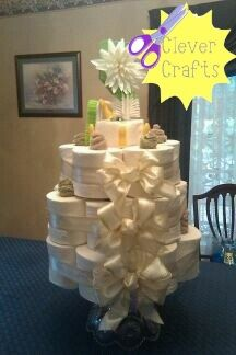 Toilet paper cake. Fun house warming or bridal shoer idea. Like us on Facebook. Clever Crafts