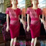 ชุดผ้าไทยเอวระบาย ชุดแซกผ้าไทยลายมัดหมี่สีชมพู ชุดผ้าไทยผ้าพื้นเมือง ชุดผ้าไทยฝ้ายแต่งผ้าลายมัดหมี่สีชมพู ชุดทำงานผ้าไทยแต่งด้นเส้นไหมที่เอวและโบว์ที่เอว สำเนา สำเนา