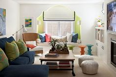 Moroccan style living room with colorful seat cushions