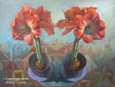 Rich colors to bright up the walls in any space. Amaryllis Duo by Cathy Locke: Oil Painting available at www.artfulhome.com