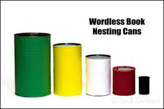 Cans needed  Film canister or pill bottle  tomato sauce  reg. soup  large pork & bean  big chicken broth  File sharp points on cans. Cut paper to size & glue to cans.  We made bracelets in Africa & used these colors:  Black-sin  Red-Christ's blood  Blue-baptism  White-cleansed heart  Green-grow in Christ  Gold-heaven Explanation and verses for colors (needs rewording): http://www.kidology.org/zones/zone_post.asp?post_id=120
