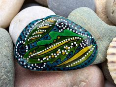 Falling leaves / rain forest / painted rocks / by LoveFromCapeCod