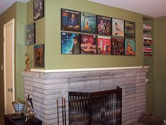 album art on the wall in frames